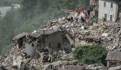A view of destroyed building in Pescara del Tronto, Italy, on August 24, 2016. A powerful pre-dawn earthquake devastated mountain villages in central Italy on August 24, 2016, leaving at least 38 people dead and dozens more injured, trapped or missing. Scores of buildings were reduced to dusty piles of masonry in communities close to the epicentre of the quake, which had a magnitude of between 6.0 and 6.2, according to monitors. (Photo by Adamo Di Loreto/NurPhoto) *** Please Use Credit from Credit Field ***